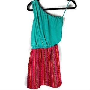 Judith March One Shoulder Serape Print Dress Small